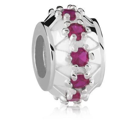 Sterling Silver Red Cubic Zirconia Charm