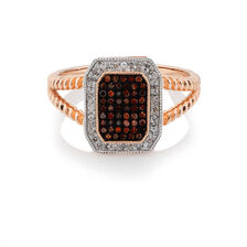 Ring with 1/4 Carat TW of White & Enhanced Red Diamonds in 10kt Rose & White Gold