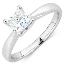 Evermore Colorless Solitaire Engagement Ring with a 1 Carat Diamond in Platinum