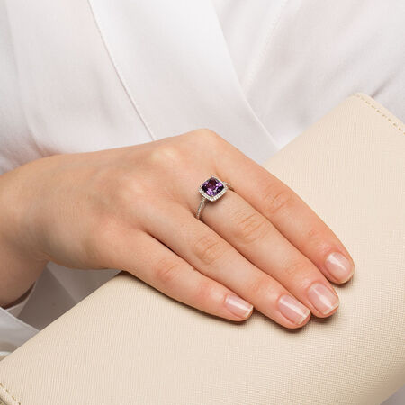 Ring with Amethyst & 1/6 Carat TW of Diamonds in 10kt White Gold