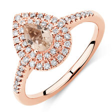 Michael Hill Designer Fashion Ring with Morganite & 1/4 Carat TW of Diamonds in 10kt Rose Gold