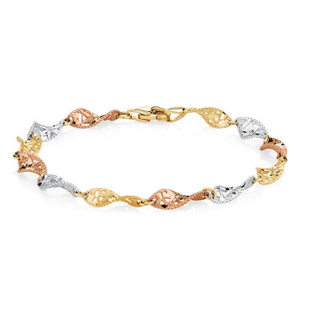 "19cm (7.5"") Twist Bracelet in 10kt Yellow, White & Rose Gold"