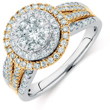 Engagement Ring with 1 Carat TW of Diamonds in 14kt White & Yellow Gold