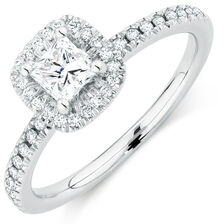 Evermore Colorless Engagement Ring with 0.70 Carat TW of Diamonds in 14kt White Gold