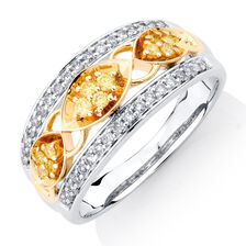 Ring with 3/8 Carat TW of Yellow & White Diamonds in 10kt Yellow & White Gold