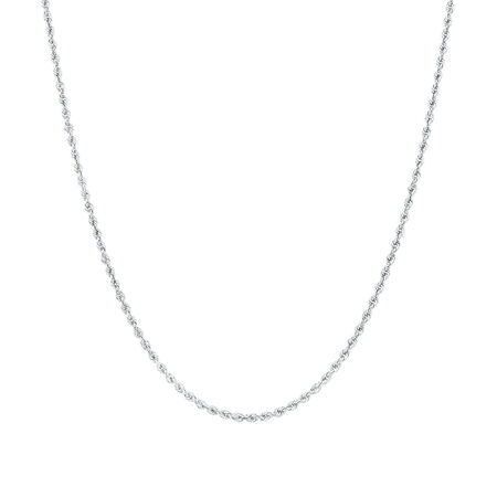"50cm (20"") Rope Chain in 10kt White Gold"