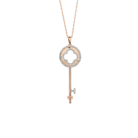 Key Pendant with Diamonds in 10kt Rose Gold