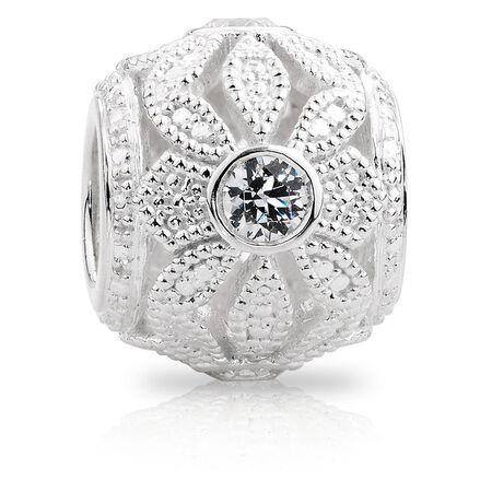 Cubic Zirconia & Sterling Silver Flower Art Deco Charm