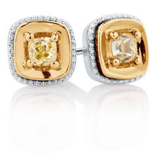Stud Earrings with Yellow Diamonds in 10kt Yellow & White Gold
