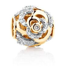 Diamond Set Rose Charm in 10kt Yellow Gold