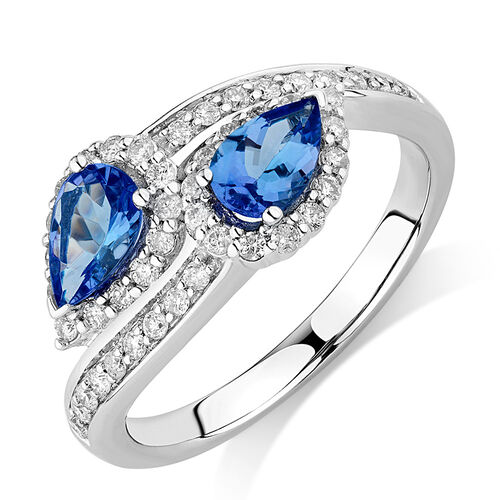 By My Side Ring with 1/6 Carat TW of Diamonds & Tanzanite in 10kt White Gold
