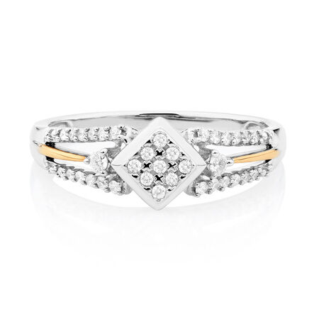 Promise Ring with 1/5 Carat TW of Diamonds in 10kt White & Rose Gold