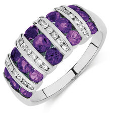 Ring with Amethyst & 1/5 Carat TW of Diamonds in 10kt White Gold