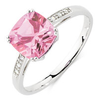 Ring with Created Pink Sapphire & Diamonds in 10kt White Gold