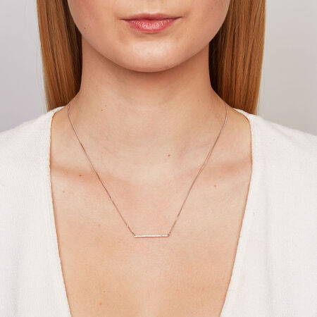 Geometric Bar Necklace with 1/15 Carat TW of Diamonds in Sterling Silver