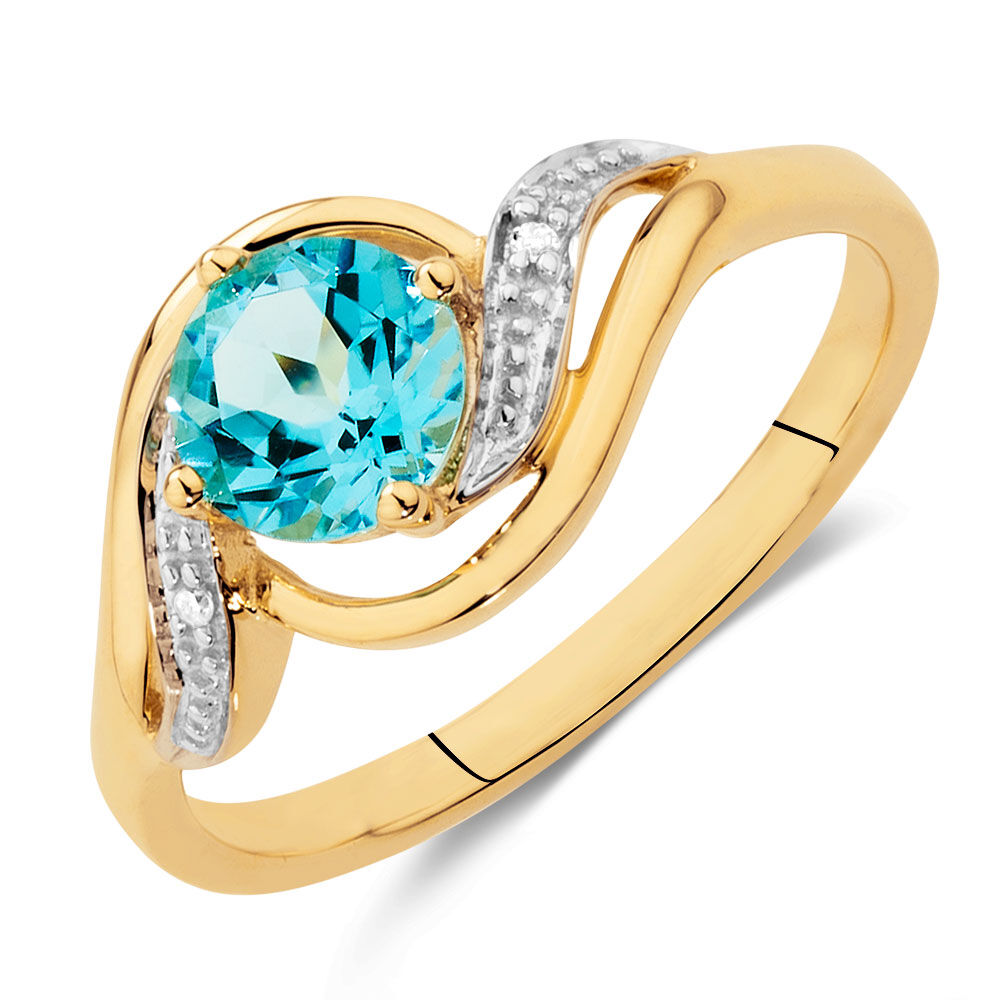 ring with blue topaz u0026 diamonds in 10kt yellow u0026 white gold