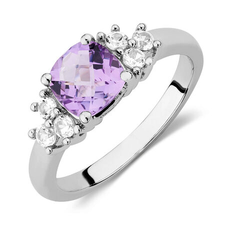 Ring with Amethyst & Created White Sapphires in Sterling Silver