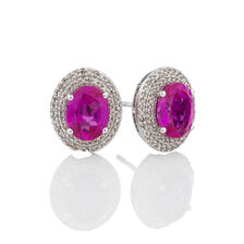Halo Earrings with Created Pink Sapphire & 3/8 Carat TW of Diamonds in 10kt White Gold