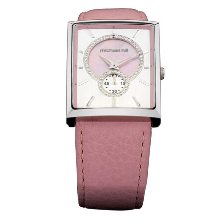 Ladies Watch with Crystals in Stainless Steel & Pink Leather