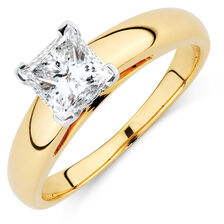Certified Solitaire Engagement Ring with a 1 Carat Diamond in 14kt Yellow & White Gold