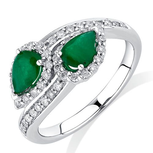 By My Side Ring with 1/6 Carat TW of Diamonds & Emerald in 10kt White Gold