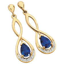 Drop Earrings with Created Sapphire & Diamonds in 10kt Yellow & White Gold