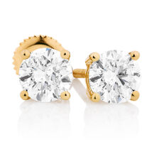 Classic Stud Earrings with 1 Carat TW of Diamonds in 14kt Yellow Gold