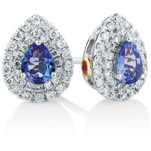 Michael Hill Designer Stud Earrings with Tanzanite & 1/4 Carat TW of Diamonds in 14kt White & Rose Gold