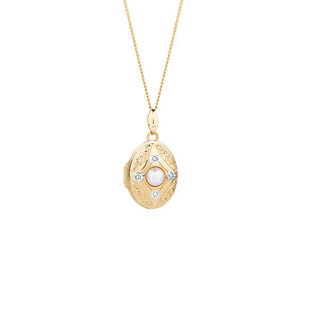 Oval Locket with Freshwater Pearl & Diamonds in 10kt Yellow Gold