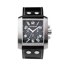 Men's Chronograph Watch in Stainless Steel & Black Leather