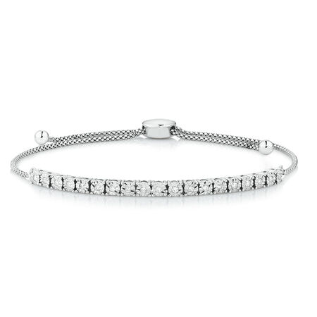 Adjustable Bracelet with 1/5 Carat TW of Diamonds in Sterling Silver