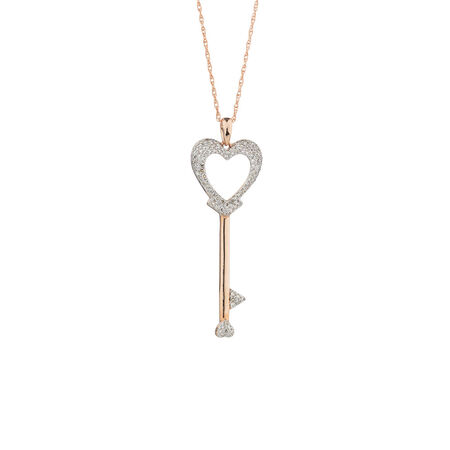 Heart & Key Pendant with Diamonds in 10kt Rose Gold