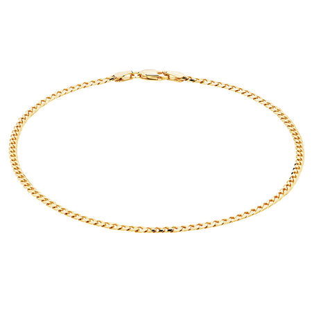 """27cm (11"""") Curb Anklet in 10kt Yellow Gold"""