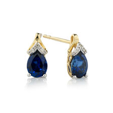 Online Exclusive - Earrings with Diamonds & Created Sapphire in 10kt Yellow & White Gold
