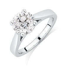 Certified Solitaire Engagement Ring with a 2 Carat Diamond in 14kt White Gold
