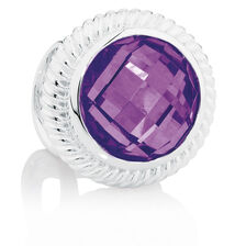 Online Exclusive - Wild Hearts Charm with Purple Cubic Zirconia in Sterling Silver