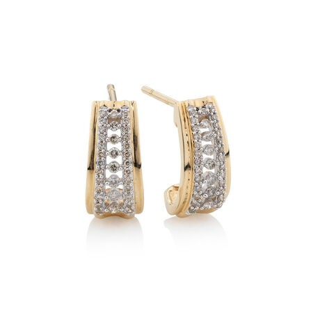 Hoop Earrings with 1/3 Carat TW of Diamonds in 10kt Yellow Gold