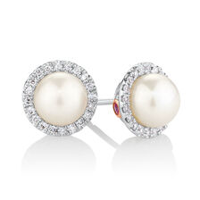 Earrings with 1/8 Carat TW of Diamonds, Pink Sapphires & Cultured Freshwater Pearls in 10kt Rose & White Gold