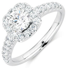 Ideal Cut Engagement Ring with 1 1/3 Carat TW of Diamonds in 14kt White Gold