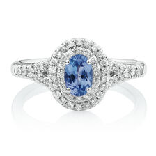 Michael Hill Designer Fashion Ring with Tanzanite & 1/4 Carat TW of Diamonds in 10kt White Gold