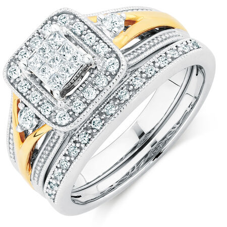 Bridal Set with 3/8 Carat TW of Diamonds in 10kt Yellow & White Gold