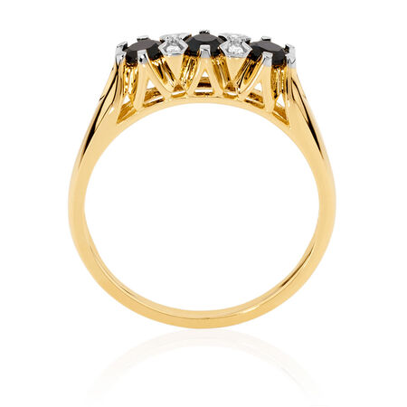 Ring with Sapphire & Diamonds in 10kt Yellow & White Gold