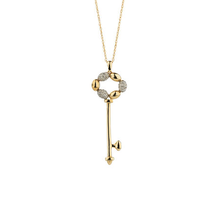 Online Exclusive - Key Pendant with Diamonds in 10kt Yellow Gold