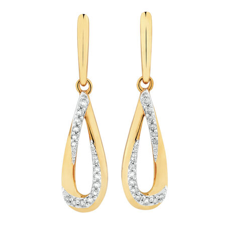 Teardrop Earrings with 1/8 Carat TW of Diamonds in 10kt Yellow Gold
