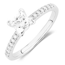 Evermore Colorless Engagement Ring with 1 Carat TW of Diamonds in Platinum