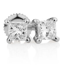 Certified Stud Earrings with 1/4 Carat TW of Diamonds in 14kt White Gold