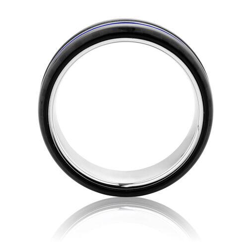 Online Exclusive - Men's Ring with Blue Stripe in Tungsten Air