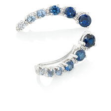 Online Exclusive - Ear Climbers with Diamonds & Created Sapphire in Sterling Silver