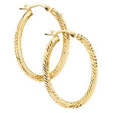 Patterned Hoop Earrings in 10kt Yellow Gold