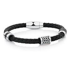 Men's Bracelet in Black Leather & Stainless Steel